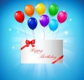 Fundo do aniversário com balões Foto de Stock Royalty Free