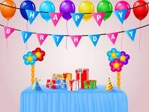 Fundo do aniversário com balões Fotografia de Stock Royalty Free