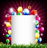 Fundo do aniversário com lugar para a decoração do texto e da grama Imagens de Stock Royalty Free