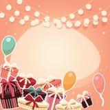 Fundo do aniversário com presentes e balões da etiqueta Fotografia de Stock Royalty Free