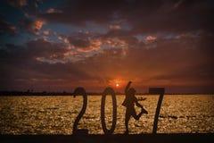 Fundo 2017 do ano da notícia Imagens de Stock