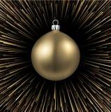 Fundo do ano novo com a bola dourada do Natal Ilustração Royalty Free