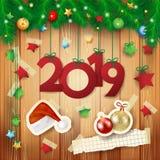 Fundo do ano novo com elementos do texto e do papel fotografia de stock royalty free