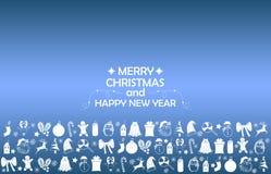 Fundo 2019 do ano novo com figuras, brinquedos do Natal, doces, Santa, vela no fundo azul do inclinação Composição 2019 do ano no ilustração do vetor