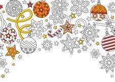 Fundo do ano novo com flocos de neve da garatuja, bolas do abeto, beira decorativa da fita imagens de stock royalty free
