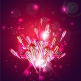 Fundo do ano novo com fogos-de-artifício Fotografia de Stock