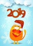 Fundo do ano novo com o chapéu engraçado do gato, do ` s de Santa e o texto fotografia de stock