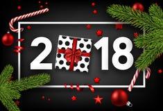 Fundo do ano 2018 novo com presente Fotos de Stock