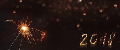 Fundo 2018 do ano novo com um chuveirinho Imagem de Stock Royalty Free
