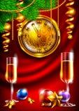 Fundo do ano novo com um pulso de disparo e vidros do champanhe Imagens de Stock Royalty Free