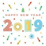 Fundo do ano 2019 novo feliz ilustração do vetor