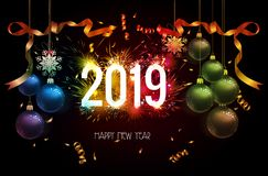 Fundo 2019 do ano novo feliz com ouro e fogo de artifício dos confetes do Natal ilustração royalty free
