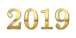 Fundo do ano novo feliz Ouro 3D número 2019 isolado no branco Projeto dourado brilhante para o cartão, Natal ilustração do vetor
