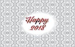 Fundo 2018 do ano novo feliz sobre o teste padrão cinzento elegante ilustração stock