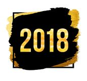 Fundo do ano novo feliz do vetor 2018 Números dourados com confetes no fundo preto Imagem de Stock
