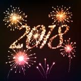 Fundo do ano 2018 novo Letras brilhantes da escrita clara com fogos-de-artifício ilustração stock
