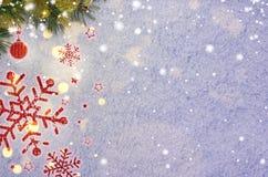 Fundo do ano novo na neve foto de stock