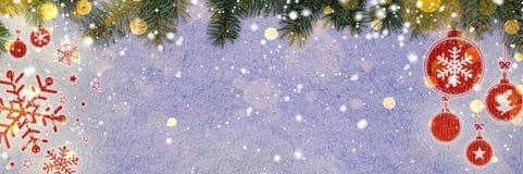 Fundo do ano novo na neve imagens de stock royalty free