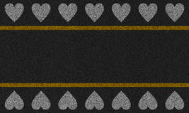 Fundo do asfalto com corações pintados Fotos de Stock Royalty Free