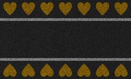 Fundo do asfalto com corações pintados Imagens de Stock