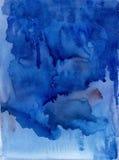 Fundo do azul da aquarela Fluxo da aquarela Mancha da aquarela Imagens de Stock Royalty Free