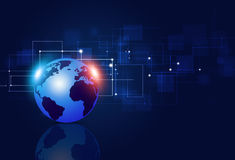 Fundo do azul das conexões da tecnologia Foto de Stock
