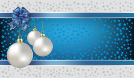 Fundo do azul das esferas e das estrelas do Natal Fotos de Stock Royalty Free