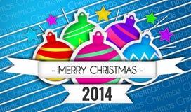 Fundo do azul de Art Paper 2014 do Feliz Natal das quinquilharias ilustração do vetor