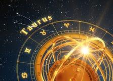 Fundo do azul de Taurus And Armillary Sphere On do sinal do zodíaco Fotos de Stock