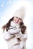 Fundo do azul do floco da neve da menina do inverno Foto de Stock Royalty Free