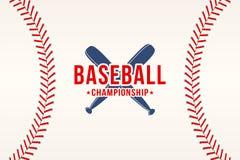Fundo do basebol A bola do basebol ata, costura a textura com bastões ilustração do vetor