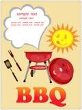 Fundo do BBQ, cartão. Fotos de Stock Royalty Free