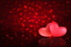 Fundo do bokeh do dia dos Valentim ou de mães com dois corações ilustração do vetor