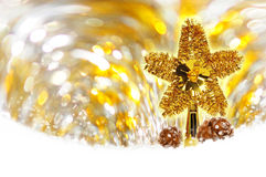 Fundo do bokeh do ouro do Natal Fotografia de Stock Royalty Free