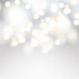 Fundo do bokeh do vetor Luzes brancas defocused festivas Fotos de Stock