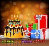 Fundo do bolo de aniversário Imagens de Stock