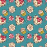 Fundo do bolo e do lollipop Imagens de Stock