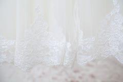 Fundo do bordado do vestido de casamento Foto de Stock Royalty Free
