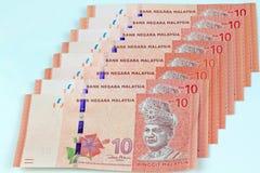 Fundo do branco da cédula de Malásia Foto de Stock