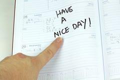 Fundo do branco da nota do cumprimento do calendário Imagem de Stock