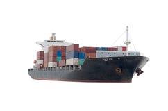 Fundo do branco do navio de carga Fotos de Stock Royalty Free