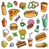 Fundo do branco dos desenhos do fast food fotografia de stock