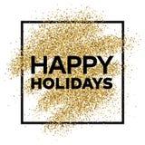Fundo do brilho do ouro com inscrição feliz do feriado Fotos de Stock Royalty Free