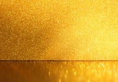 Fundo do brilho do ouro, foco seletivo, reflexões douradas Fotografia de Stock Royalty Free