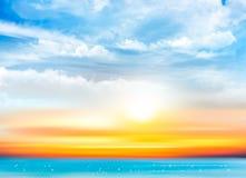 Fundo do céu do por do sol com nuvens e o mar transparentes ilustração do vetor