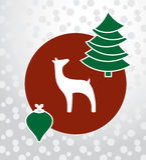 Fundo do círculo da quinquilharia da rena da árvore de Natal Fotografia de Stock