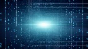 Fundo do código binário Cloud Computing, IOT e de AI da inteligência artificial conceito ilustração stock