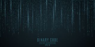 Fundo do código binário Fulgor azul Figuras de queda Borrão das figuras no movimento Rede global De alta tecnologia, programando, ilustração do vetor
