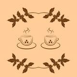 Fundo do café com ramo do café e dos copos de café ilustração royalty free