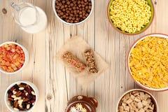 Fundo do café da manhã dos flocos de milho Foto de Stock